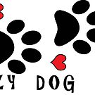 DOG PAWS LOVE CRAZY DOG LADY DOG PAW I LOVE MY DOG PET PETS PUPPY STICKER STICKERS DECAL DECALS by MyHandmadeSigns