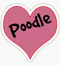 LOVE DOGS POODLE HEART DOG POODLES DECAL Sticker