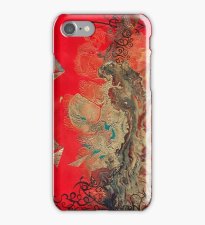 Gold and Copper Stain on Red iPhone Case/Skin