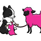 Knitting Border Collie and Friend by Diony  Rouse
