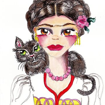 Frida and her cat by suzettemarieart