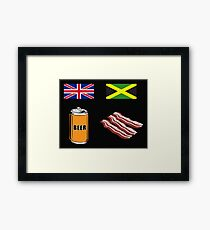 """English """"Beer-Can"""" = Jamaican """"Bacon"""" Framed Print"""