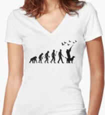 Duck Hunting Evolution Of Man Women's Fitted V-Neck T-Shirt