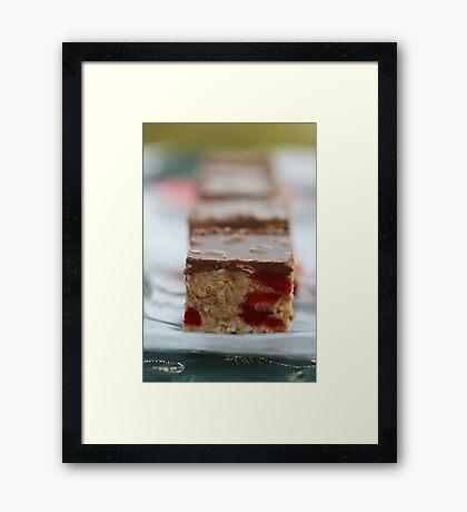 Cherry & Toasted Almond Slice. Framed Print