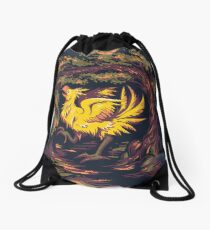 Chocobo with Blossoms Drawstring Bag