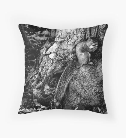 squirrel and the tree king Throw Pillow