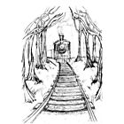 Wooden Railway , Pencil illustration railroad train tracks in woods, Black & White drawing Landscape Nature Surreal Scene by Amanda Irene