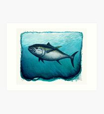 """Bluefin Tuna"" by Amber Marine ~ Watercolor painting, art © 2016 Art Print"