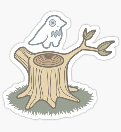 ghost bird and tree trunk Sticker