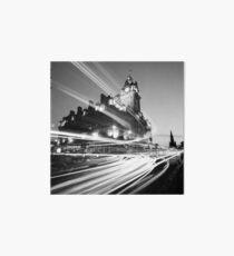 Edinburgh, Scotland, Long exposure Black and White Photo Art Board