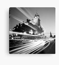 Edinburgh, Schottland, Schwarzweiss-Foto der langen Belichtung Metallbild