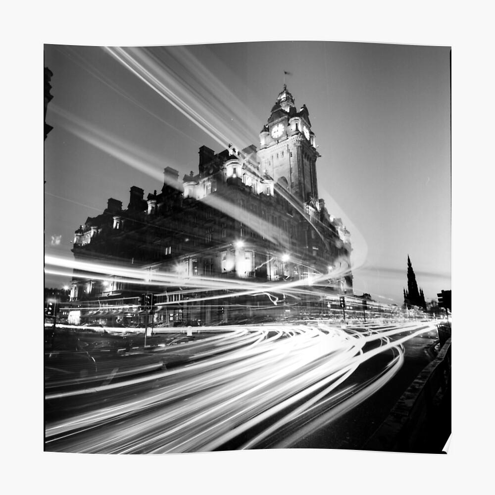 Edinburgh scotland long exposure black and white photo poster