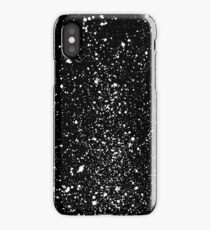 abstract graffiti splatter in white on black iPhone Case/Skin