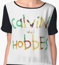 calvin and hobbes font Women's Chiffon Top