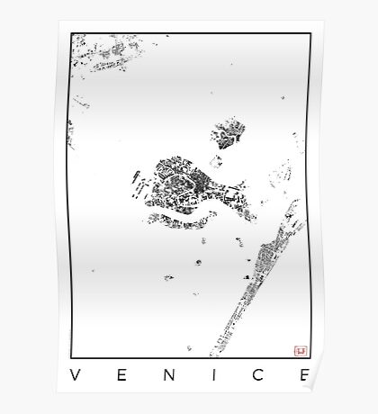 Venice Map Schwarzplan Only Buildings Urban Plan Poster