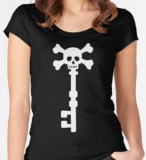 Vintage Skull Key to the Pirate Treasure Chest - White Women's Fitted Scoop T-Shirt