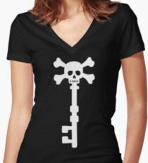 Vintage Skull Key to the Pirate Treasure Chest - White Women's Fitted V-Neck T-Shirt