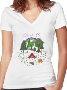 New Zealand Camping Scene with Kiwi Women's Fitted V-Neck T-Shirt