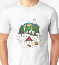 New Zealand Camping Scene with Kiwi Unisex T-Shirt
