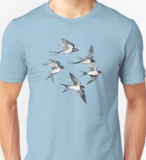 Blue Sky Swallow Flight Unisex T-Shirt