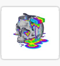 Rainbow Painted Skull Sticker