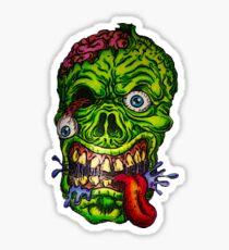 Zombie Skull Brains Sticker