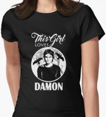 This Girl Loves Damon. 2. TVD. Womens Fitted T-Shirt