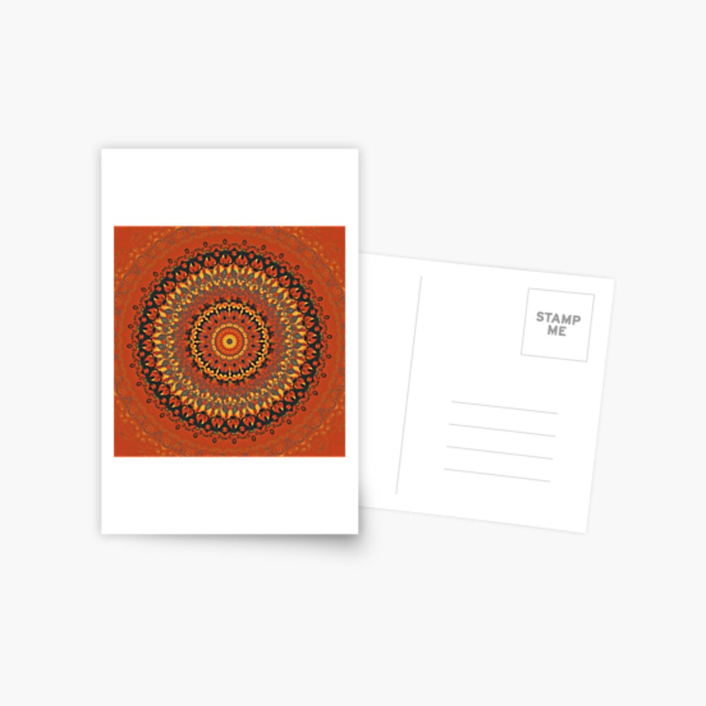Autumn Leaves Rust Mandala Postcard