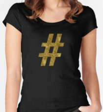 # hashtag | Golden Women's Fitted Scoop T-Shirt