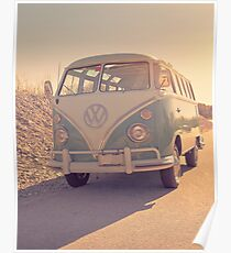 Surfer's Vintage Vw Samba Bus At The Beach 2016 Poster
