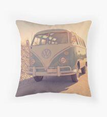 Surfer's Vintage Vw Samba Bus At The Beach 2016 Throw Pillow
