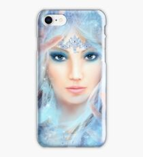Snow queen. Winter beautiful woman. Portrait. Illustration iPhone Case/Skin