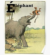 Elephant - French Alphabet Animals Poster