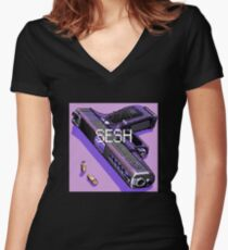 pistol and bullets Women's Fitted V-Neck T-Shirt