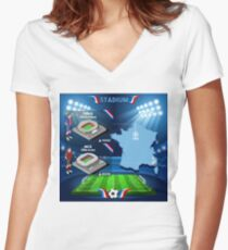 Paris Nice Stadium Infographics Women's Fitted V-Neck T-Shirt