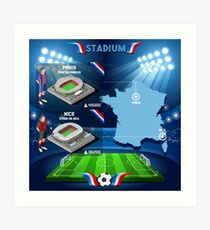 Paris Nice Stadium Infographics Art Print