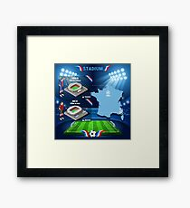 Paris Nice Stadium Infographics Framed Print