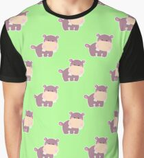 Pattern with a cute hippo Graphic T-Shirt