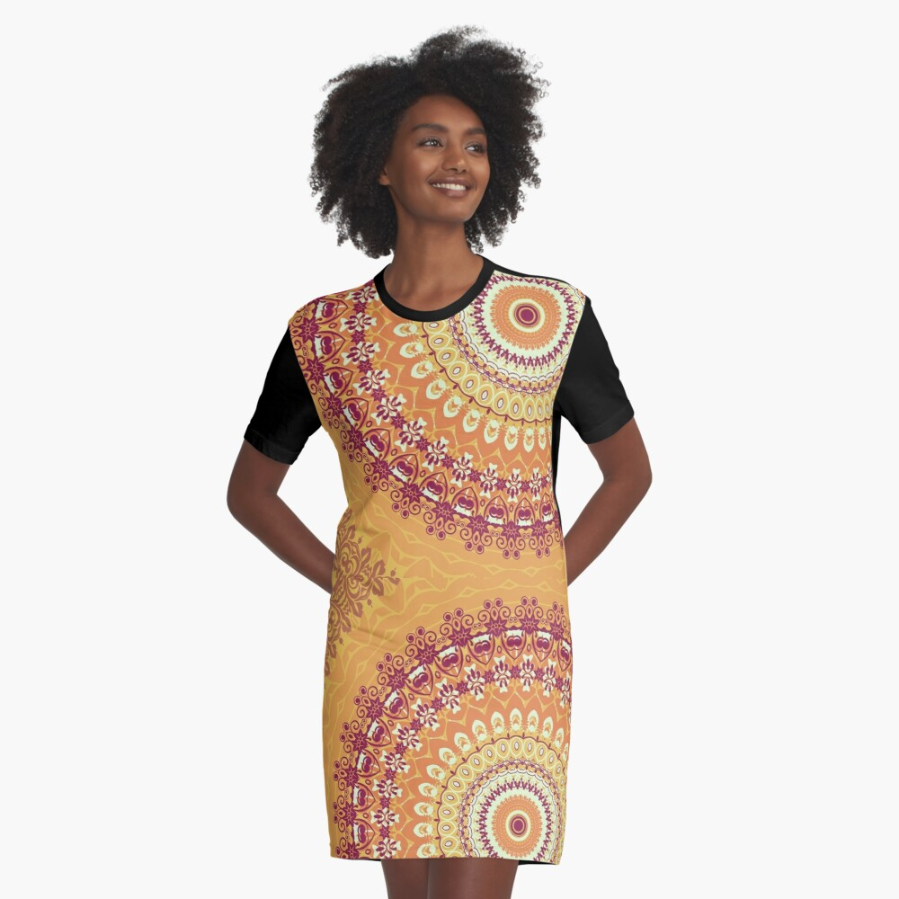 Orange Spice Mandala Graphic T-Shirt Dress Front