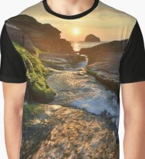 Cornwall: The River Rushing at Trebarwith Strand Graphic T-Shirt