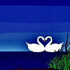 """Evening Love"" swan art design products by Mel Bohrer"