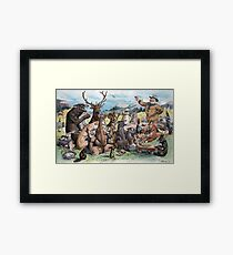 J. S. Pughe - Teddy Roosevelt at Thanksgiving Feast Framed Print