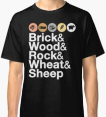 Helvetica Settlers of Catan: Brick, Wood, Rock, Wheat, Sheep | Board Game Geek Ampersand Design Classic T-Shirt