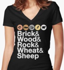 Helvetica Settlers of Catan: Brick, Wood, Rock, Wheat, Sheep | Board Game Geek Ampersand Design Women's Fitted V-Neck T-Shirt