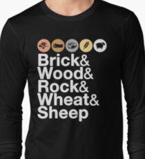 Helvetica Settlers of Catan: Brick, Wood, Rock, Wheat, Sheep   Board Game Geek Ampersand Design T-Shirt