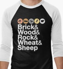 Helvetica Settlers of Catan: Brick, Wood, Rock, Wheat, Sheep | Board Game Geek Ampersand Design Men's Baseball ¾ T-Shirt