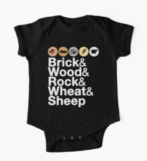 Helvetica Settlers of Catan: Brick, Wood, Rock, Wheat, Sheep | Board Game Geek Ampersand Design Short Sleeve Baby One-Piece