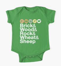 Helvetica Settlers of Catan: Brick, Wood, Rock, Wheat, Sheep | Board Game Geek Ampersand Design One Piece - Short Sleeve