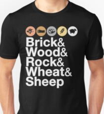 Helvetica Settlers of Catan: Brick, Wood, Rock, Wheat, Sheep | Board Game Geek Ampersand Design Unisex T-Shirt