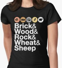 Helvetica Settlers of Catan: Brick, Wood, Rock, Wheat, Sheep | Board Game Geek Ampersand Design Women's Fitted T-Shirt